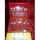 A boxed canteen of Newbridge Cutlery in Kings pattern, three teaspoons missing.