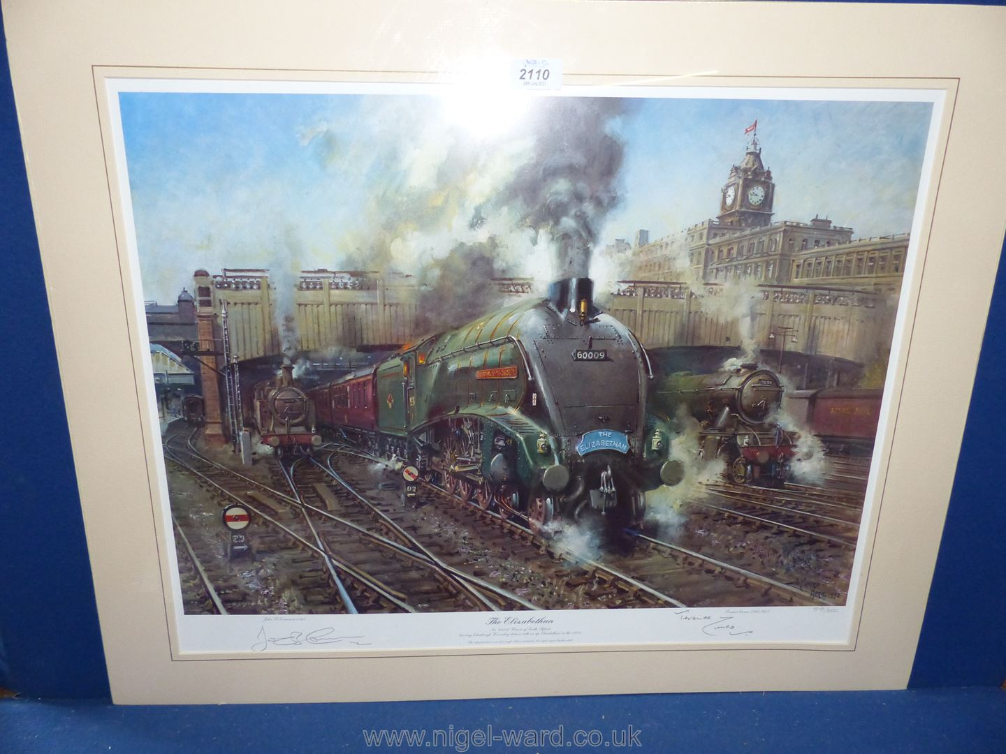 A Terence Cuneo pencil signed limited edition print of a train 'The Elizabethan' leaving