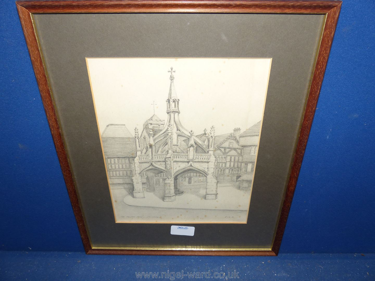 A framed and mounted pencil drawing 'The Poultry Cross, Salisbury', initialled lower right R.G.H.