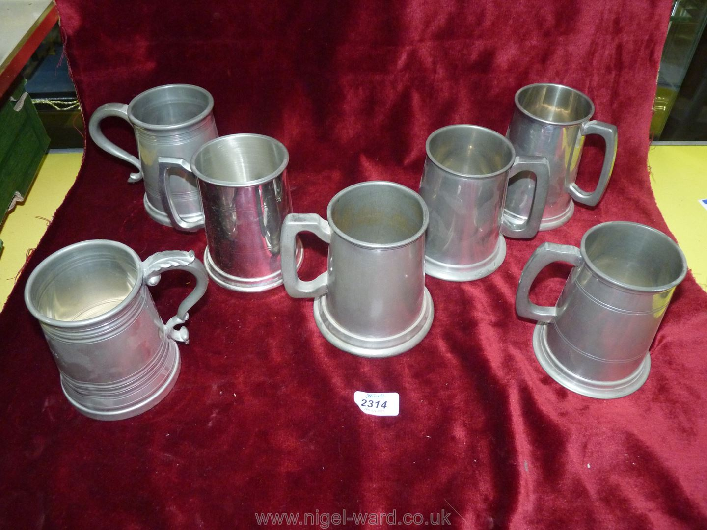 Seven Tankards including Pewter and white metal