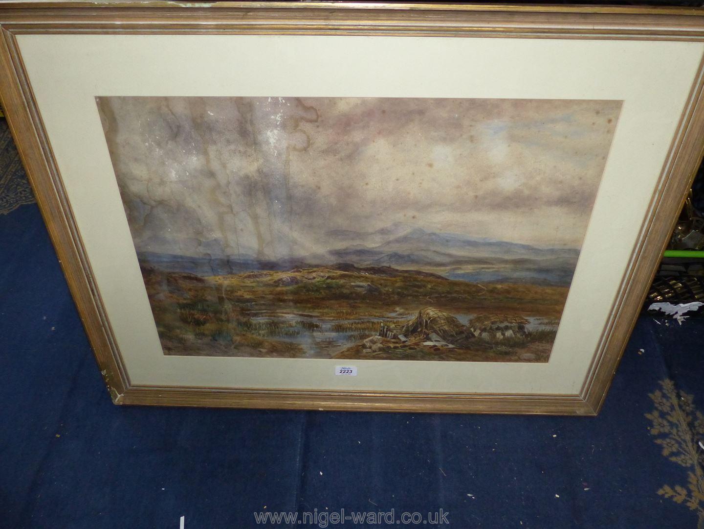 A Lloyd Bond Watercolour of a large Welsh mountain landscape.