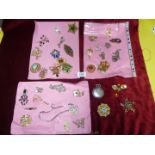A quantity of costume brooches including multi stone, diamonte, turquoise etc.