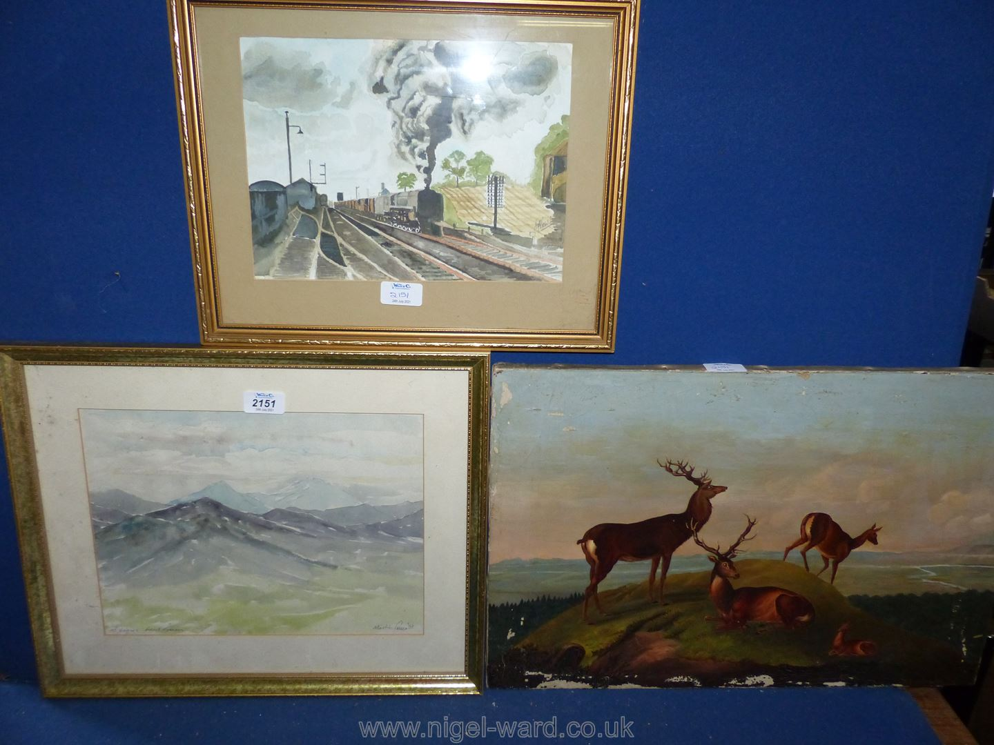 Three pictures including a Victorian oil on canvas 'Highland Stag',