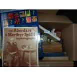 A box of books including The Complete Book of Antiques, Aberdare & Merthyr Tydfil,