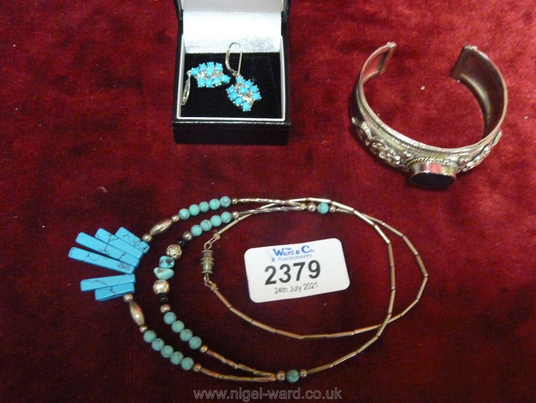 925 set Turquoise ear-rings,