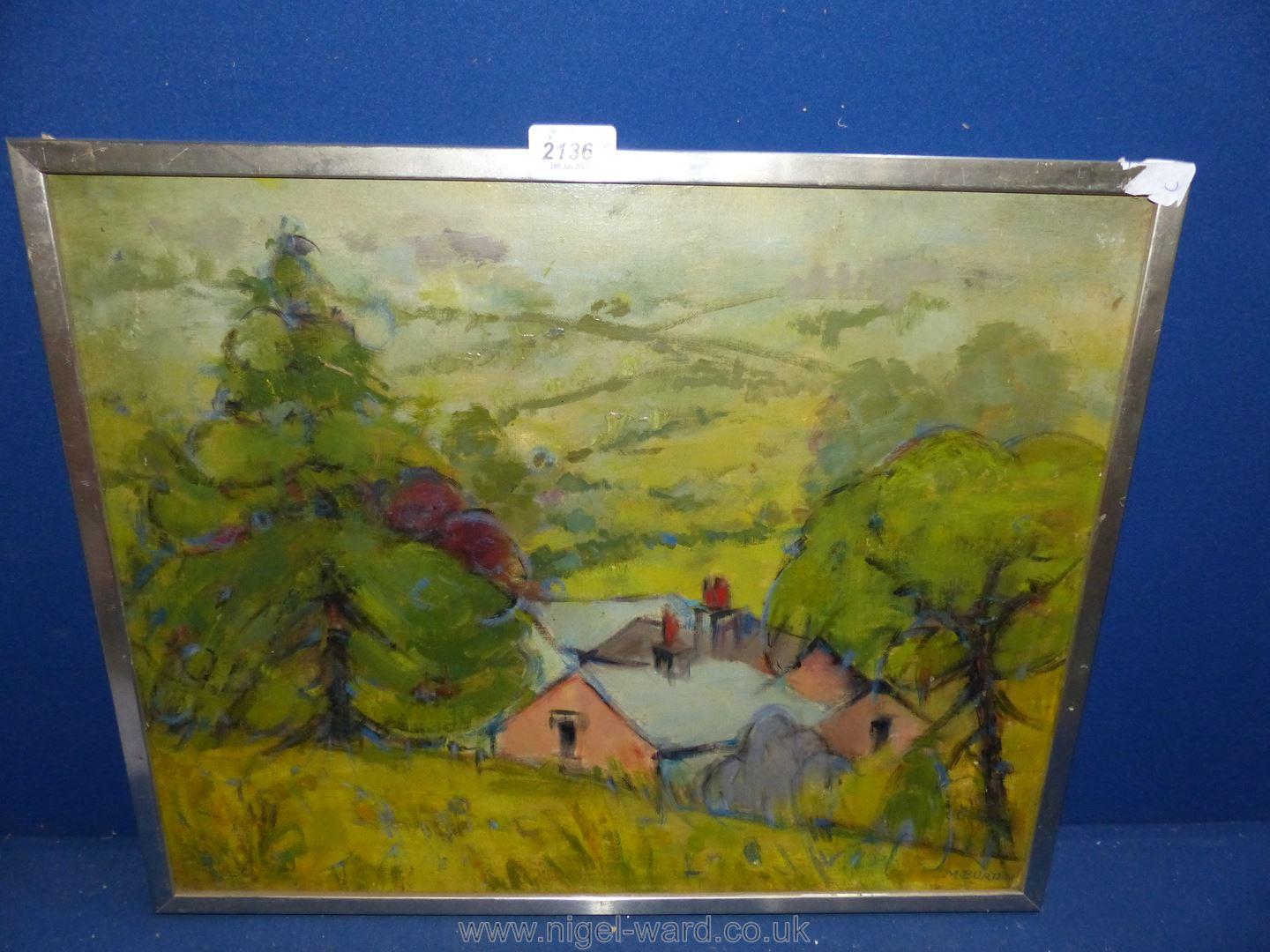 An Oil on board by Miriam Burton entitled 'Yealand Conyers' (a village in North Lancashire).