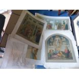 A folio of 19th c. 'Arundel' chromolithographs from Italian Renaissance paintings.