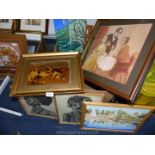 A quantity of pictures to include; an oil on board of Eastern beach scene with sailing boat,