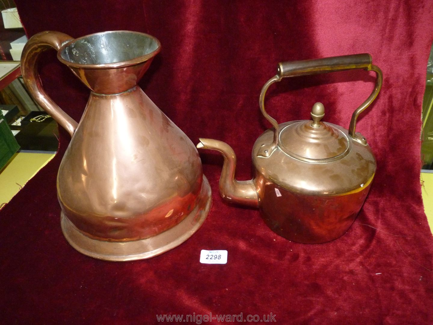 A large Copper Jug and a copper Kettle. - Image 2 of 2