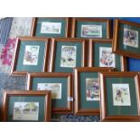 A quantity of framed and mounted Sporting Cartoons all by different artists.