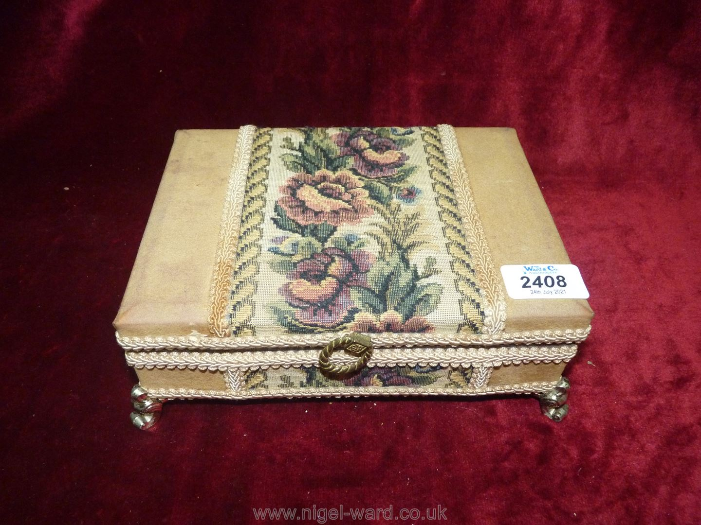 A fabric covered musical jewellery box and contents including brooches, cameos, - Image 2 of 2