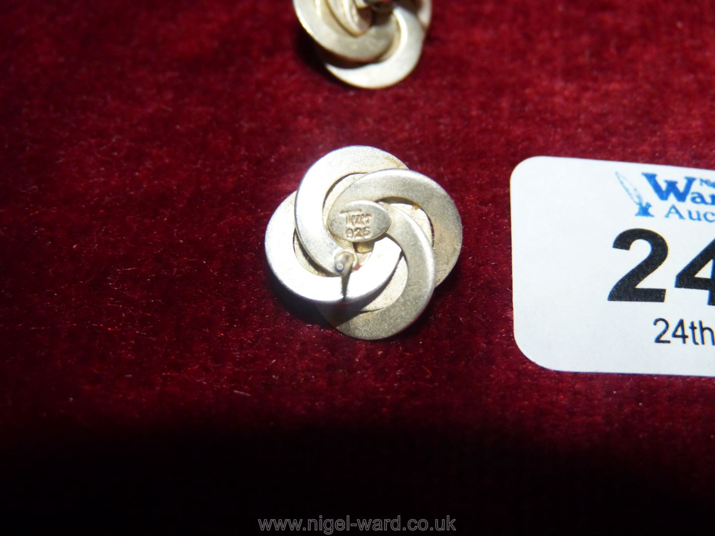 Two pairs of pearl earrings one pair set in silver the other 9ct gold. - Image 2 of 2