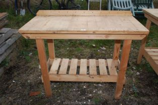 """A pine potting shed table, 46"""" x 21 1/2"""" x 36"""" high."""