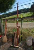 A branch lopper, rakes, brooms, spades etc.