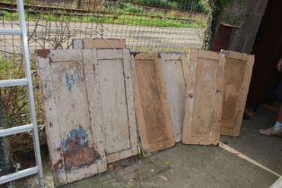 """Eight painted pine cupboard doors approx 17"""" x 40""""."""