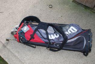 A Wilson golf bag with various Prosimmon clubs.