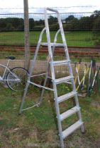 A set of five rung aluminium step ladders.