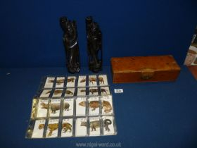A small quantity of miscellanea including leather gloves box, two carved oriental figures a/f.