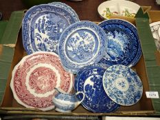 A large quantity of blue and white china including Woods and Sons jug, Old Willow pattern,