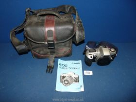 A Canon EOS 500N 35mm auto focus SLR Camera Body with instruction manual, original Lanyard,