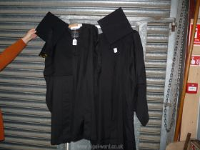Two graduation gowns and caps; one 'J. Wippell' and one 'Marston Robing' size 46.