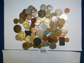 Miscellaneous foreign and English coinage.