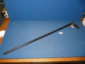 A one piece walking Stick, possibly made from ebony.