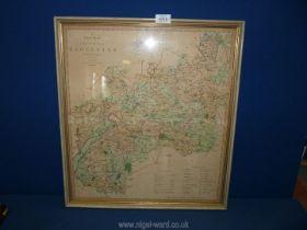 "A framed map of Gloucester, 19"" x 21 1/2""."