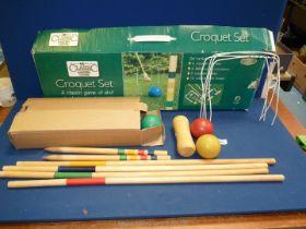A 'Classic Garden Games' croquet set, boxed.