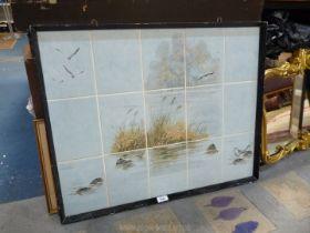 A set of framed tiles depicting seagulls, etc.