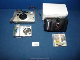 Three cameras to include; a Samsung digimax S500, a Fuji film fotonex Z60 and a Hanimex ic500.