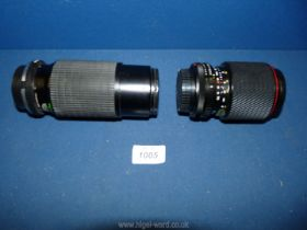 A Tokina Sd 70-210mm f/4 5.6 zoom lens to fit a Canon fd together with a Marexar cx 80-200mm f/4.