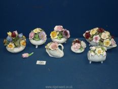 A quantity of posies including; Royal Doulton, Aynsley January Snowdrop (in barrel), Radnor,
