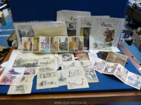 A small quantity of miscellanea including coloured postcards, French comedy postcards,