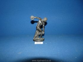 A bronzed finish brass figure of a discus thrower, 5'' tall.
