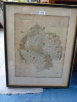 A framed map of Herefordshire.