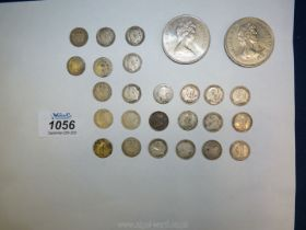 Twenty-four Edward VII and Victoria threepence pieces in various states of wear,
