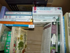 A box of books on gardening, pests and diseases, propagation, etc.