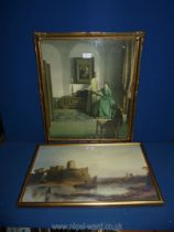 A framed Print depicting 'Pembroke Castle' taken from the painting by Sir Augustus W. Calcott R.A.