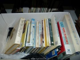 A box of books on cooking to include; Mary Berry's Fast Cakes, Country Entertaining, etc.