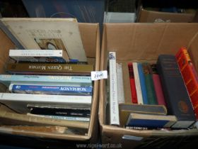Two boxes of books to include; Great Ormond Street Hospital, For Whom the Bell Tolls Hemingway.