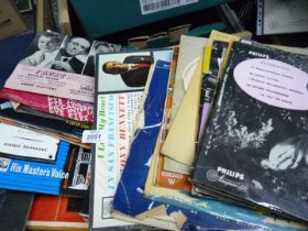 A box of classical records.