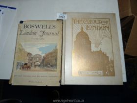 Two books; The Colour of London by Yoshio Markino no: 70/250 and Boswell's London Journal 1762-1763.