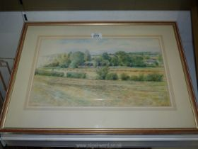 A framed pencil crayon drawing titled 'View to the wharf,