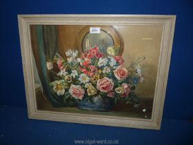 A framed Watercolour of a still life Blue vase of flowers under a circular mirror,