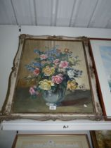 A large ornate framed Watercolour depicting still life of Flowers in a blue vase,