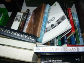 A box of books to include; Michael Foot Everest The Hardway, Denis Healey, etc.