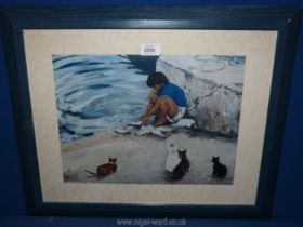 A framed photographic Print from an original oil painting 'On the scrounge' by Paul R.
