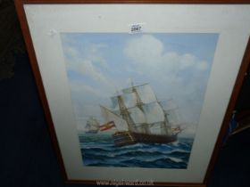 A framed and mounted Watercolour of two Galleon ships at full sail, signed A.E.C.
