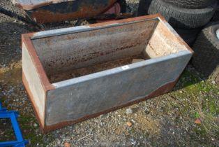"Galvanised metal water tank (bottom a/f.) 36"" x 15"" x 15""."